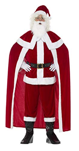 Anzug Deluxe Kostüm Weihnachtsmann - Smiffys, Herren Deluxe Weihnachtsmann Kostüm, Hose, Jacke, Umhang, Gürtel, Stiefel Überzieher, Handschuhe, Bart und Hut, Größe: M, 43125