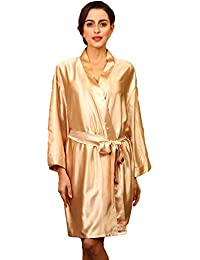 9f6bf02678 HAINE Womens Silk Kimono Dressing Gowns Robes Lady Satin V-Neck Nightdress  Pure Colour Short