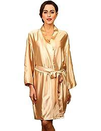 27de6ac703d5e HAINE Womens Silk Kimono Dressing Gowns Robes Lady Satin V-Neck Nightdress  Pure Colour Short