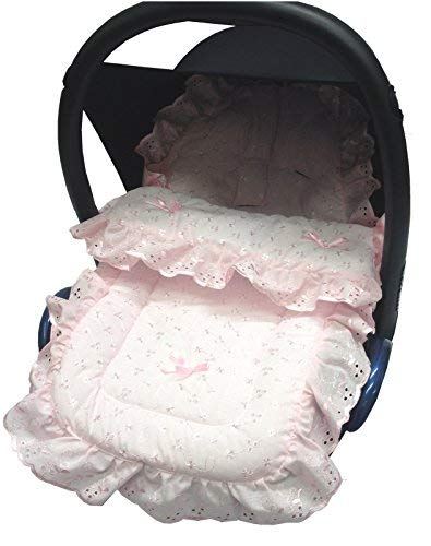 Broderie Anglaise coche asiento saco/Cosy Toes Chicco Echo activ3 Urban, Color Rosa
