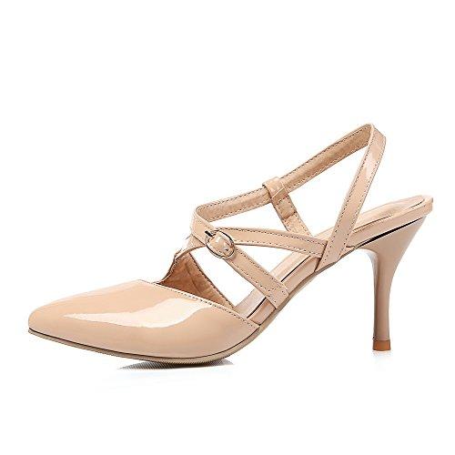 AllhqFashion Damen Schließen Zehe Schnalle Rein Stiletto Sandalen Mit Hohem Absatz Aprikosen Farbe