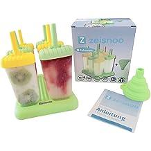 ZEISNOO 6 Eisformen BPA frei - GRATIS eBook mit 50 Eisrezepten - Mit Trichter zum Befüllen - Selbstmach Eis am Stiel für Kinder und Erwachsene - Stieleis schnell selbstgemacht - Spülmaschinen geeignet