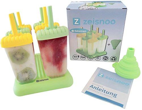 zeisnoo 6 Eisformen BPA frei - GRATIS eBook mit 50 Eisrezepten - Mit Trichter zum Befüllen - Selbstmach EIS am Stiel für Kinder und Erwachsene - Stieleis schnell selbstgemacht - Spülmaschinenfest