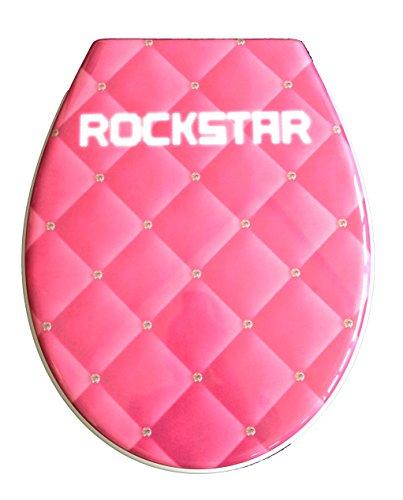 ADOB Duroplast WC Sitz Klobrille Modell Pink Rockstar mit Absenkautomatik zur Reinigung abnehmbar, 59826