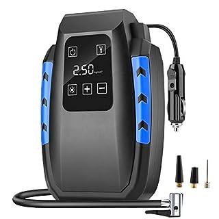 DIZA100 Luftkompressor, Auto Luftpumpe 150PSI 12V Reifen Inflator Autoreifen Kompressor Digital Tragbare Kompressor mit Touch-Taste, Notbeleuchtung und langem Kabel