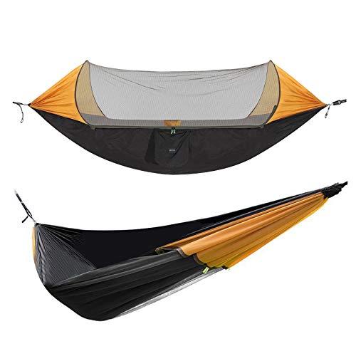 Hängematte Camping Hängematte mit Zipper Moskitonetz Ultraleichte Hammock Sonnenschutz für 2 Personen, 70d Nylon Atmungsaktiv, extra-Breit 290 x 145cm 200kg, für Reise Outdoor Camping Garten