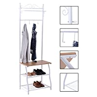Costway Metal Clothes Stand Hat Coat Shoe Hanging Rail Storage Organiser Hanger Hooks Shelf White