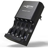 ANSMANN Batterieladegerät Powerline 4 Smart - Universal Akku Batterie Ladegerät für Ni-MH AA & AAA Akkubatterien - Schnellladegerät für Akkus & wiederaufladbare Batterien - Akkuladegerät