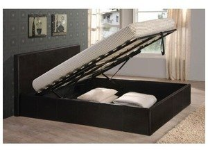 TIGERBEDS Black 4ft6 Double Storage Ottoman Gas Lift Up Bed Frame All other sizes and colours also available