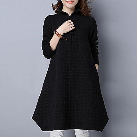WZH Cuello de pie de mujer color sólido de la Jersey de Showthin alta cintura falda vestido suéter . black . xl