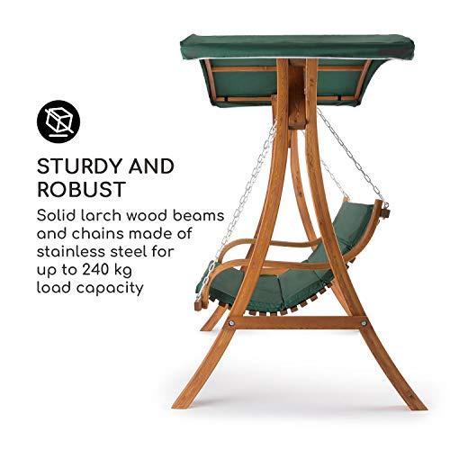 Blumfeldt Tahiti Hollywoodschaukel Gartenschaukel (110 cm breite Sitzfläche, Sonnendach, Lärchen-Holz, Edelstahl-Ketten, bis max. 250 kg, inkl. Polyester Sitz-Kissen) grün - 2