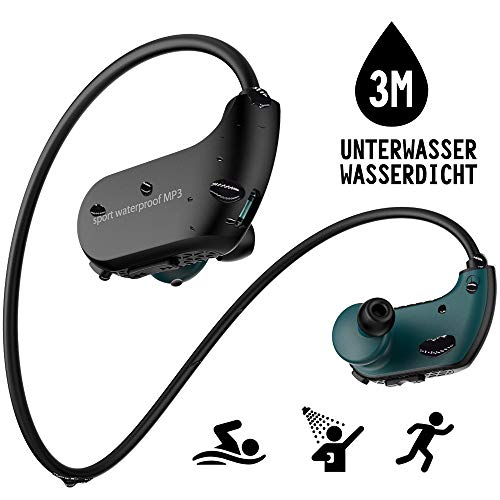 Wasserdichter MP3-Player, IPX8, Kopfhörer zum Schwimmen, 8 GB Speicher zum Herunterladen von 2000 Songs, Schwimm-Ohrhörern, Arbeit für 6-8 Stunden unter Wasser 3 Meter, mit Shuffle-Funktion