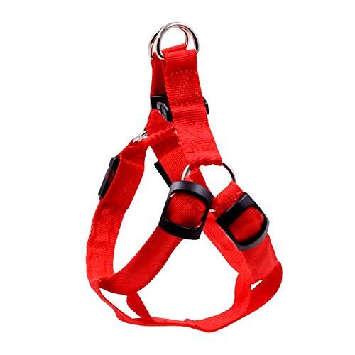 lizhirui Pet Nylon Led Hundegeschirr Haustier Katze Hundehalsband Harness Weste Sicherheitsbeleuchtung Hundegeschirr Pet Dogs Luminous Fluorescent Collars M Rot