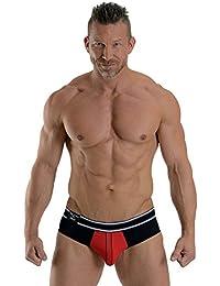 Mister B URBAN Bronx Brief Red Black Slip Unterhose in Größe S L M XL