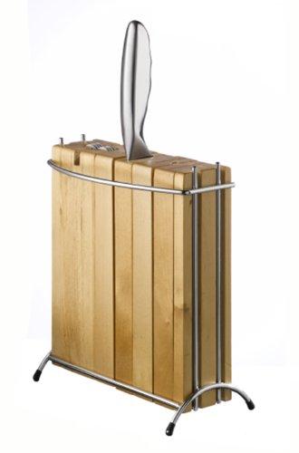 Design Messerblock (unbestückt) aus Holz (Buche) mit Chrom mit integriertem Messerschleifer f. 4 Messer