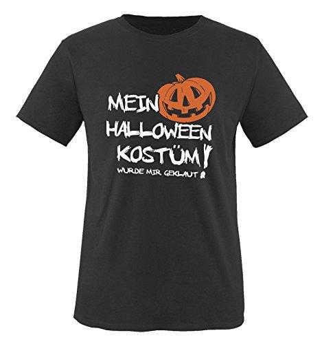 MEIN HALLOWEEN KOSTÜM WURDE MIR GEKLAUT KÜRBIS - Herren T-Shirt Schwarz/Weiss-Orange Gr. M