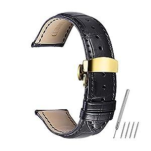 CHIMAERA Uhrenarmband 16mm 18mm 19mm 20mm 21mm 22mm 24mm echtes Kalbslederband Ersatz Uhrenarmband Knopf Faltschließe Butterfly-Verschluss