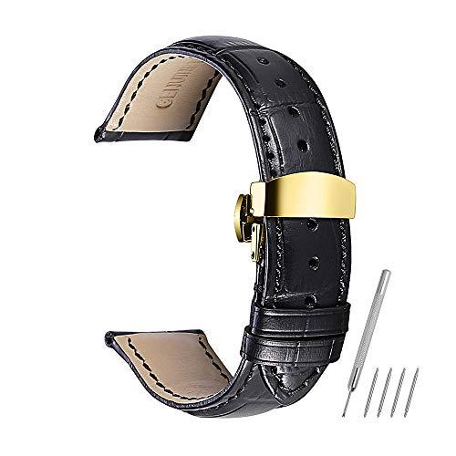 Bracelet de Montre 14mm 16mm 18mm 19mm 20mm 21mm 22mm 24mm Véritable Bande de Cuir de Veau Remplacement Montre Bande Bouton De Déploiement Boucle Papillon Fermoir CHIMAERA