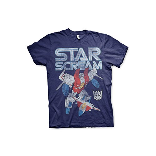 Officially Licensed Merchandise Transformers Starscream Distressed T-Shirt (Navy), Large