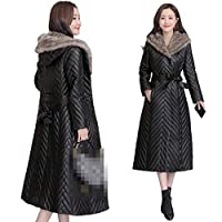 Leather Jacket Women Sheep Down Jackets Bring Cap Chaqueta Cuero Mujer Slimming Dames Coat