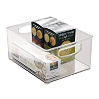 iDesign Stackable Storage Box with Handles, Large and Deep Plastic Fridge Box for Food and Kitchen Accessories Storage, Kitchen Organiser for Fridge, Freezer or Pantry, Clear