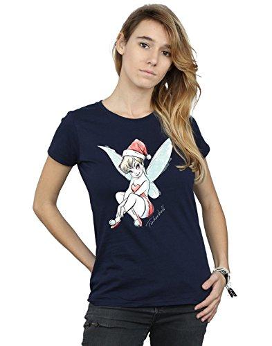 Disney Damen Tinkerbell Christmas Fairy T-Shirt Small Marine (Tee Tinkerbell T-shirt)