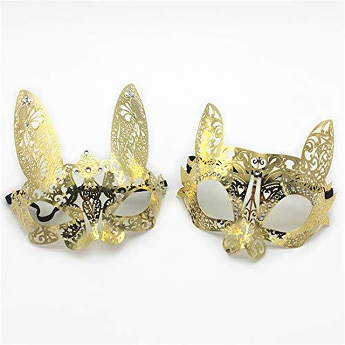 VJUKUBWINE Pack Von 2 Sexy Frauen Gold Katze Und Kaninchen Vintage Maskerade Kostüm Masken Venezianischen Augenmaske-Halloween Karneval Party Maske Halloween Frauen Cosplay Mode