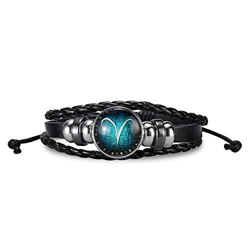 NovaLuna - Stufenlos verstellbares Sternzeichen Armband 'Blue Zodiac' aus Schwarzem Leder in Wickeloptik mit Schiebeknoten Verschluss - Herren Damen Unisex Armband Accessoire Schmuck in TšRKIS Widder