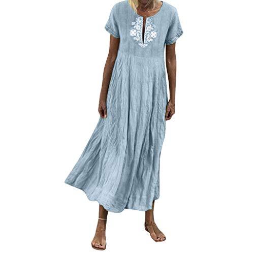 11c42f9c7 ღLILICATღ Mujer Verano De Playa Vestido Estampado Vestido De Lino Y AlgodóN  Mangas Corta Vestidos De Fiesta para Bodas Talla Grandes Vestidos ...