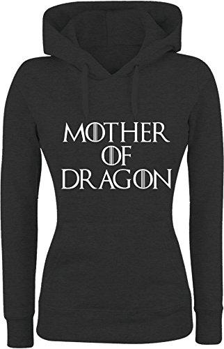 Felpa DONNA Con Cappuccio BASIC top qualità top vestibilità - MOTHER OF DRAGON divertenti humor MADE IN ITALY (L, NERO)