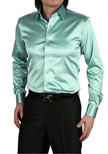 MISSEUROUS Männer - mode Glänzt Regelmäßig Fit Einfarbig Tanz Aus Seide Wie Hemd (M, Hellgrün) (Regelmäßige Fitting)