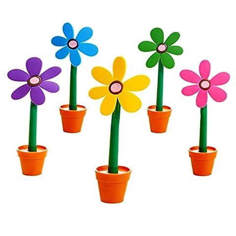 Stylo à bille Multicolor Mignon Créatif Lot de 5 Petite fleur Cadeau pour enfant (5 couleurs : Violet, Rose, Bleu, Jaune,