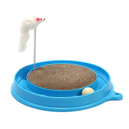 LEILEI8 Haustier Katze Plattenspieler Interaktives Katzenspielzeug Katzenkratzbrett Interaktives Mehrfunktionsspielzeug Katzentraining Katzenspiel Disc Chase Toy Pet Toy,Blue -