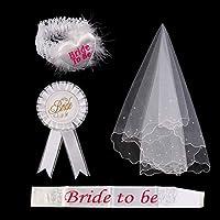 AllRight 4 pcs Bride To Be Veil and Sash, White Rosette Badge Garter Veil Hen Night Wedding Party Supplies