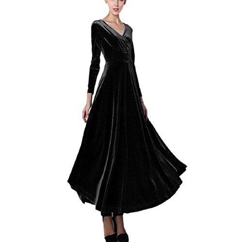 Rcool Frauen heißen Samtkleid Plus Größe Winter Knöchel Maxi Tuniken lässig Roben Fashion V-Ausschnitt Rock (L, Schwarz)