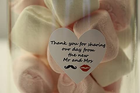 40 Heart Shaped 'Thank you for sharing our day' Moustache & Lip Stickers