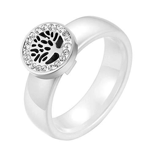 JewelryWe Schmuck Damen-Ring, Elegant Baum des Lebens Edelstahl Strass Keramik Ring Band, Weiß Silber, Größe 57