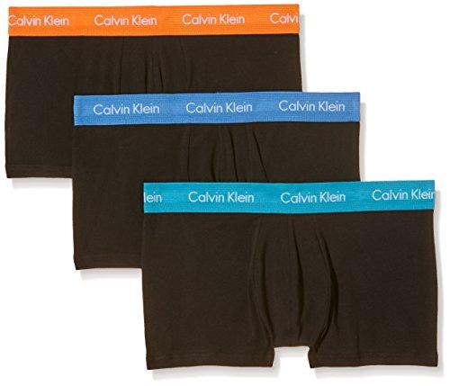 Calvin Klein 3P Lr Trunk 0000U2664G, Calzoncillos Para Hombre, Negro (Black With Urban Blue/Caneel Bay/Nara Orange), S, Pack de 3