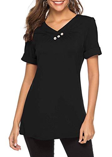 KISSMODA T-Shirt für Frauen Button Hooded Neck Sweatshirt Tops Schwarz XLarge