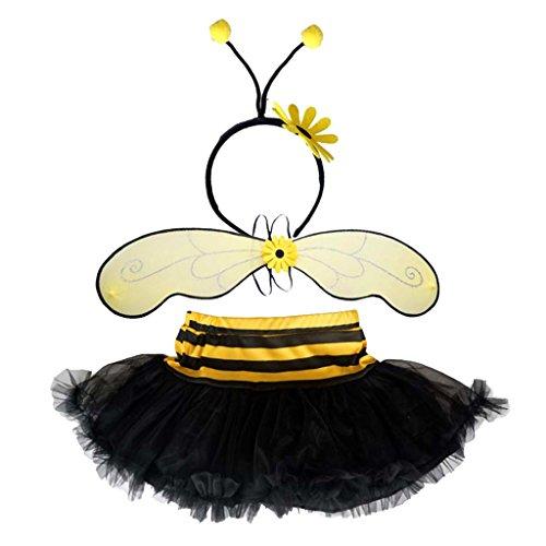 Gazechimp Bienenflügel Tutu Rock Stirnband im Set Tierkostüm Honig Biene für Kinder (Honig Biene Kostüm Set)