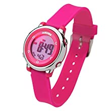 Digital Kids Watch Band with Hourly Chime, Stopwatch, Daily Alarm & Calendar, Water Resistant 30M (Pink)