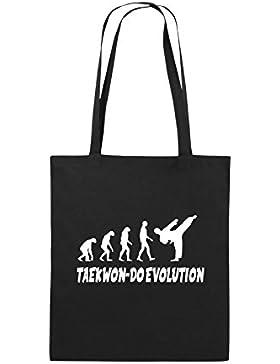 Comedy Bags - TAEKWON-DO EVOLUTION - Jutebeutel bedruckt, Baumwolltasche zwei lange Henkel aus 100 % Baumwolle...