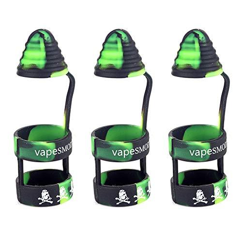 Tank Band (Yeleo Trosetry 3 Stück Vape Band mit Kappe als Abdeckung für E-Zigarette und Verdampfer aus Silikon Anti Slip Mundstück für 510 810 RTA RDA Tank Vape Drip Tip(H08))