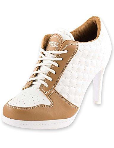 458cef2a858a5f MISSY ROCKZ Square Zone Bequeme Sneaker High Heels weiß Cappuccino 8