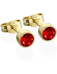 nklaus par pendientes oro 333Er 4,50mm color rojo claro Circonita Mujer Hombre Niños 6604