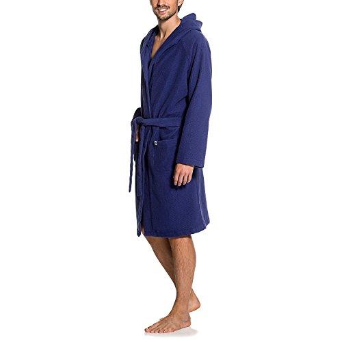 Maat Mons Herren Bademantel in blau | weicher Herrenbademantel aus Frottee | Morgenmantel mit Kapuze | Saunamantel mit Gürtel und Tasche | Größe L/XL