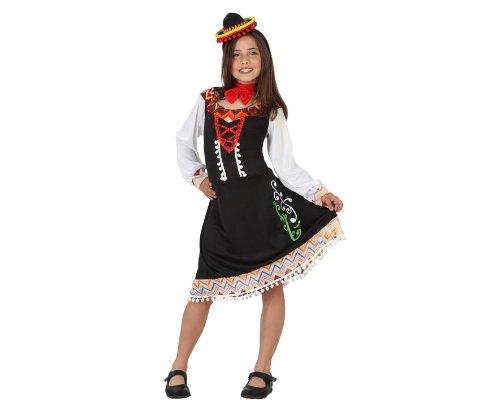 Atosa 23633 - Mexicanerin Mädchen Kostüm, Größe 104, schwarz/bunt
