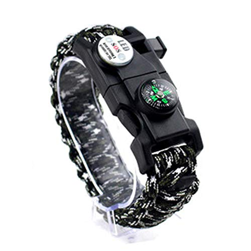 RuoLin Multifunktionale Outdoor-Kompass - Angeltasche Flint Bracelet - Emergency Survival Survival Equipment LED-Lampe Regenschirm Seil Armband (Black and White Camouflage)