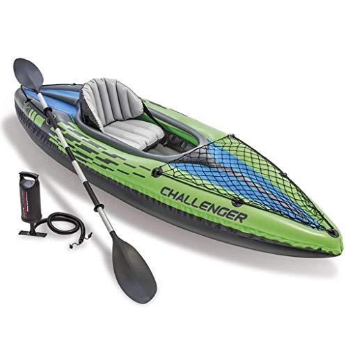 Festnight Kayak Hinchable Canoa Hinchable para Lagos y Ríos Tranquilos, con un Asiento Inflable Ajustable con Respaldo Verde 274 x 76 x 33 cm