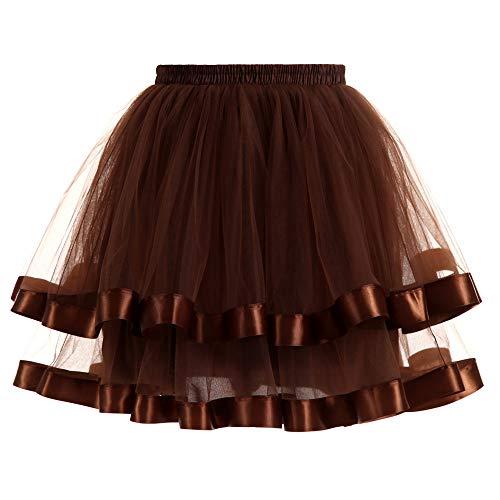 KIMODO Damen Mädchen Tüllrock Einfarbig Petticoat Schichtung Tutu Rockabilly Tütü Elegant Unterrock Ballett Cosplay Rock Mode 2019